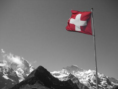 La bandera suiza, simbolo del país